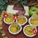 Muffin con mele, mortandela Gruyère e Sbrinz